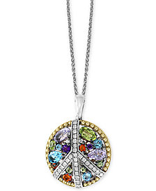 "EFFY® Multi-Gemstone (1-1/2 ct. t.w.) & Diamond (1/6 ct. t.w.) Peace Sign 18"" Pendant Necklace in Sterling Silver & 18k Gold"