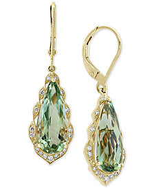 EFFY® Prasiolite (5-9/10 ct. t.w.) & Diamond (1/6 ct. t.w.) Drop Earrings in 14k Gold