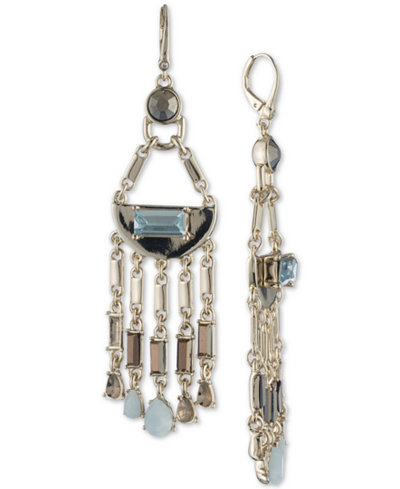 DKNY Gold-Tone Colored Stone Chandelier Earrings, Created for Macy's