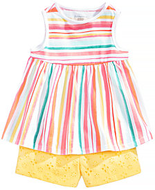 First Impressions Striped Top & Shorts Separates, Baby Girls, Created for Macy's