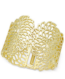I.N.C. Gold-Tone Flower Wide Hinged Cuff Bracelet, Created for Macy's