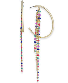 "I.N.C. Extra Large 4"" Gold-Tone Multicolor Bead Fringe Hoop Earrings, Created for Macy's"