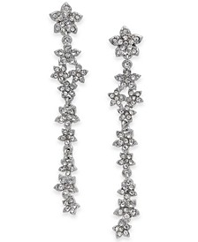 INC Silver-Tone Crystal Cluster Flower Linear Drop Earrings, Created for Macy's
