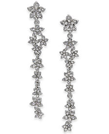 I.N.C. Silver-Tone Crystal Cluster Flower Linear Drop Earrings, Created for Macy's