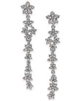 8afcbedbf9f I.N.C. Silver-Tone Crystal Cluster Flower Linear Drop Earrings, Created for  Macy's