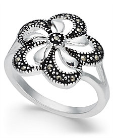 Marcasite Openwork Flower Ring in Fine Silver-Plate