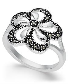 Marcasite Openwork Flower Ring in Fine Silver-Plate
