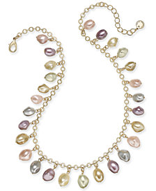 "Charter Club Gold-Tone Shaky Imitation Pearl Collar Necklace, 17"" + 2"" extender, Created for Macy's"