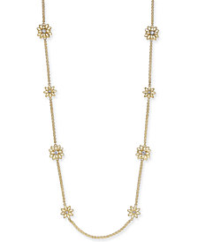 "Charter Club Gold-Tone Crystal & Imitation Pearl Flower Station Necklace, 42"" + 2"" extender, Created for Macy's"