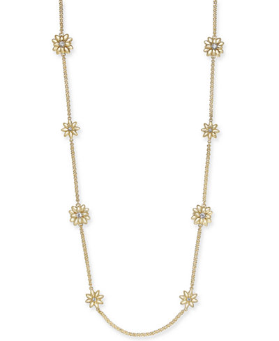 Charter Club Gold-Tone Crystal & Imitation Pearl Flower Station Necklace, 42