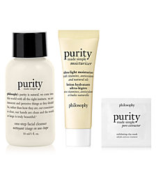 Receive a 3 pc. Free cleanse, peel, and treat sampler set with any $50 philosophy purchase