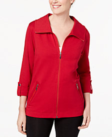 Karen Scott Zip-Front French-Terry Jacket, Created for Macy's