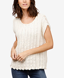 Lucky Brand Pointelle-Knit Cotton Top
