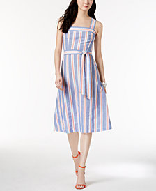 Nine West Cotton Striped A-Line Dress