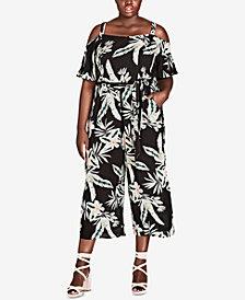 City Chic Trendy Plus Size Cold-Shoulder Jumpsuit
