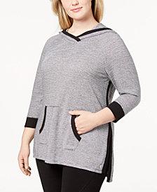 Calvin Klein Performance Plus Size Micro-Stripe Hoodie