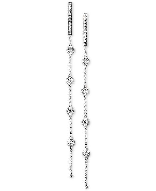 EFFY Collection Pavé Rose by EFFY® Diamond Linear Drop Earrings (1/2 ct. t.w.) in 14k White Gold