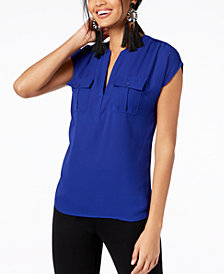 I.N.C. Petite Mixed-Media Utility Shirt, Created for Macy's