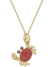 "kate spade new york Gold-Tone Pavé Crab Pendant Necklace, 20"" + 3"" extender"
