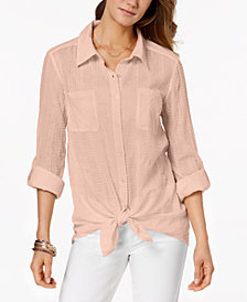 Style & Co Tie-Front Shirt, Created for Macy's
