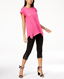 I.N.C. Mixed-Media Top & Lace-Trim Pants, Created for Macy's