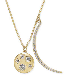 "Danori 18k Gold-Plated Pavé Crescent and Crystal Disc Pendant Necklace, 16"" + 2"" extender, Created for Macy's"