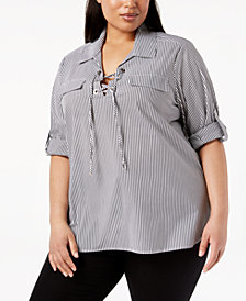 Calvin Klein Plus Size Cotton Striped Lace-Up Top