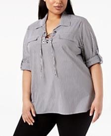 Calvin Klein Plus Size Cotton Striped Lace-Up Top