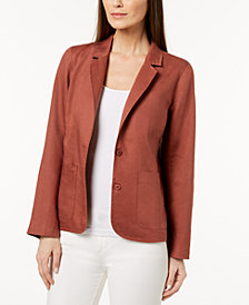 Eileen Fisher Organic Linen Two-Button Blazer, Regular & Petite