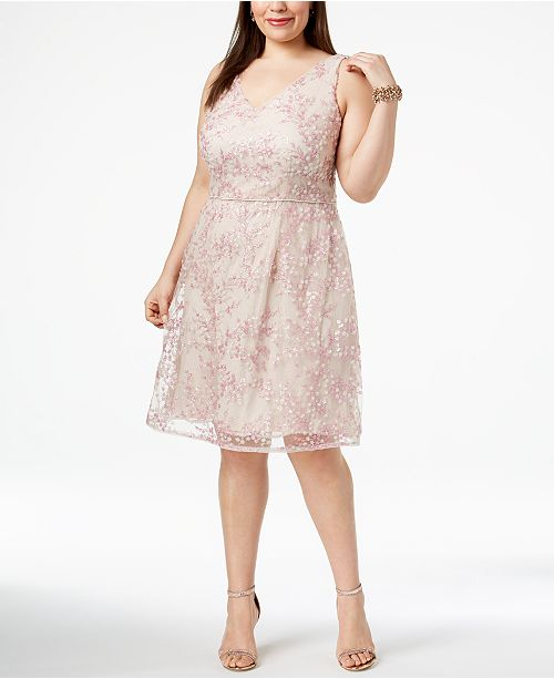 Adrianna Papell Plus Size V Neck Tulle Lace Dress Dresses