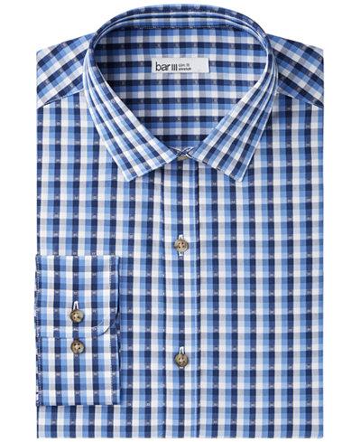 Bar III Men's Slim-Fit Stretch Easy-Care Blue Flower Dobby Dress Shirt, Created for Macy's