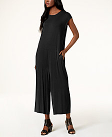 Eileen Fisher Stretch Jersey Cropped Wide-Leg Jumpsuit, Regular & Petite
