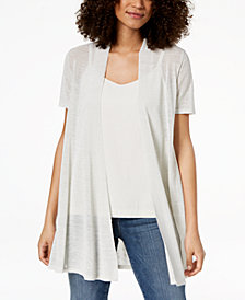 Eileen Fisher Organic Linen Open-Front Cardigan, Regular & Petite