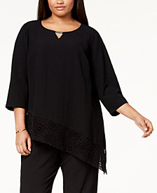 JM Collection Plus Size Crinkle Crochet-Hem Top, Created for Macy's