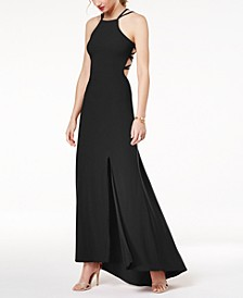 Juniors' Strappy Sleeveless Gown