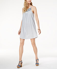 Lucky Brand Striped Embroidered Dress