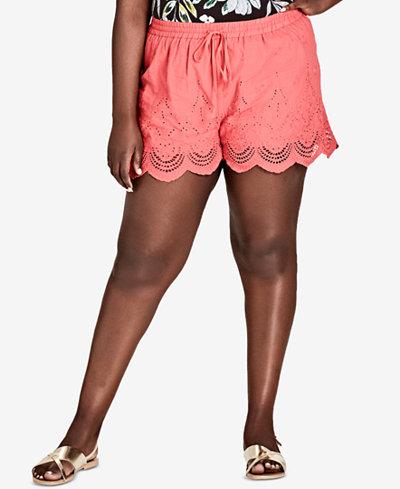 City Chic Trendy Plus Size Scalloped Eyelet Shorts