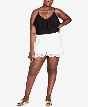 Trendy Plus Size Scalloped Eyelet Shorts, Ivory