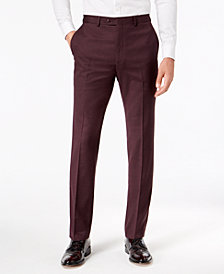 Sean John Men's Slim-Fit Stretch Burgundy Sharkskin Suit Pants