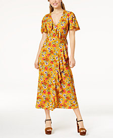 Speechless Juniors' Printed Maxi Wrap Dress