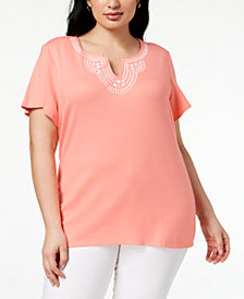 Karen Scott Plus Size Cotton Embellished T-Shirt, Created for Macy's