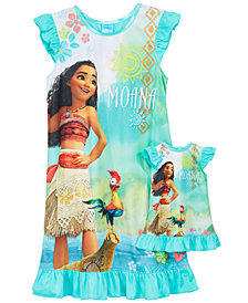 Disney's® Moana 2-Pc. Graphic-Print Nightgown & Doll Nightgown Set, Little Girls