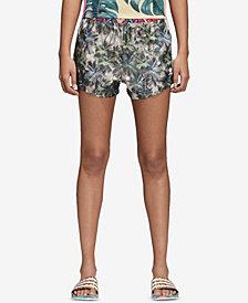 adidas Originals Satin Printed High-Waist Shorts