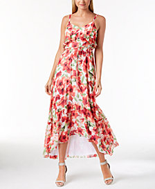 Calvin Klein Ruffled High-Low Floral Chiffon Dress