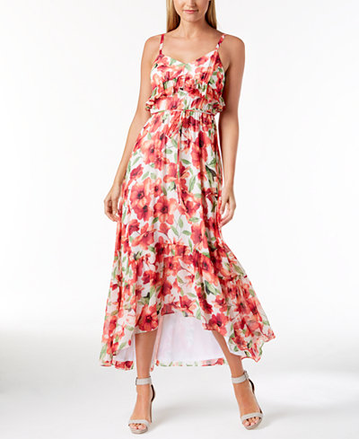 Calvin Klein Ruffled High-Low Chiffon Dress, Regular & Petite Sizes