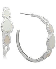 Nine West Silver-Tone Imitation Mother-of-Pearl Hoop Earrings