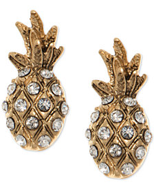 lonna & lilly Gold-Tone Pavé Pineapple Stud Earrings