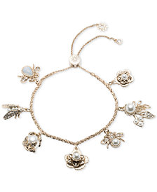 Marchesa Gold-Tone Crystal & Imitation Pearl Garden Charm Slider Bracelet