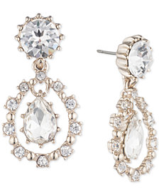 Marchesa Gold-Tone Crystal Double Drop Earrings