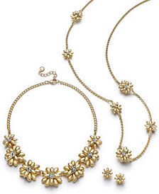 Charter Club Gold-Tone Crystal & Imitation Pearl Flower Jewelry Separates, Created for Macy's